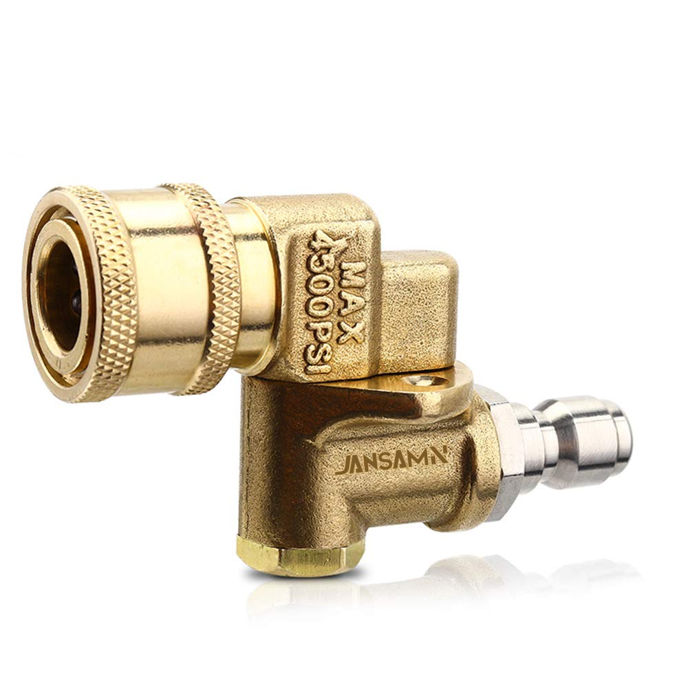 Jansamn Quick Connecting Pivoting Coupler 180 Degree with 5 Angles for Pressure Washer Spray Nozzle Cleaning Hard to Reach Area 4500 PSI 1/4 Inch Plug 2.5 Orifice Size, 2.5GPM by Jansamn