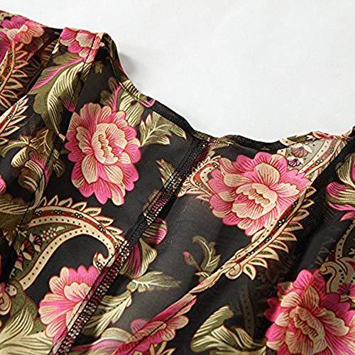 Otoño Tops Mujer Casual Chaqueta Cardigan Estampada Jersey Outerwear De Luckycat Abrigo Cárdigans Para Outdoor Splicing Primavera Manga Jerséis Rojo Con Kimono Larga 7x00Bqwzd
