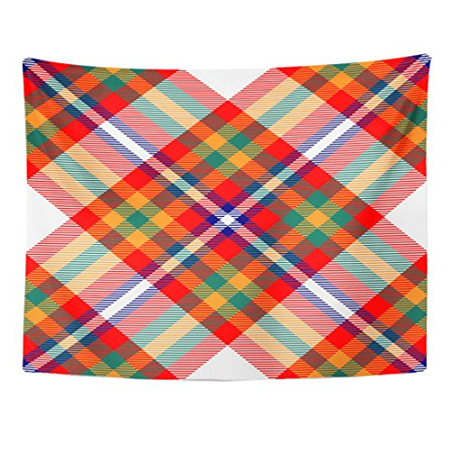 British Colonial Fabric - Breezat Tapestry Check Madras Plaid Pattern Checkered in Bright Red Orange Green Blue and White Bedding Home Decor Wall Hanging for Living Room Bedroom Dorm 60x80 Inches