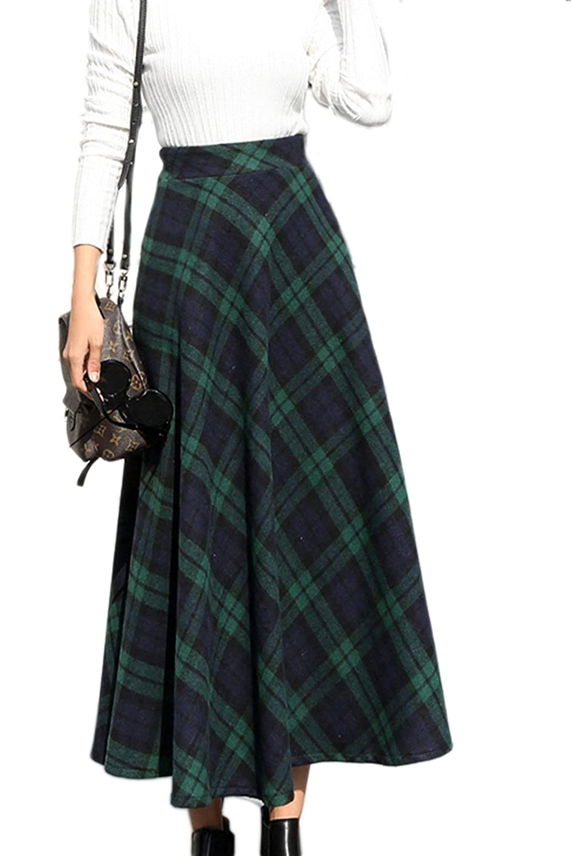 325726b9eb Women Vintage Plaid High Waist Swing Pocket Zipper A-Line Fall Winter Maxi  Skirt: Amazon.co.uk: Clothing