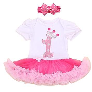 0575b22fb Baby Girl 1st Birthday Party Dress Tutu Dresses Cotton Pink (Pack of 2)  (XL, 1st Birthday): Amazon.co.uk: Baby