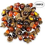 fall table decorations 100 Pcs Artificial Acorns with Natural Acorn Cap, Realistic and Natural Looking, 2 Color Small Fake Acorns for Crafting, Wedding, House Decor