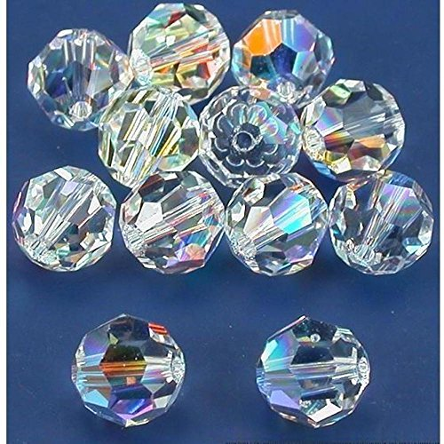 (12 Clear AB Round Swarovski Crystal Beads 5000 8mm)