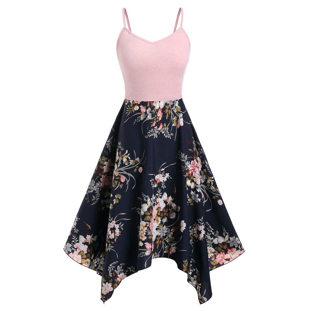Rexinte Women Plus Size Floral Print Dress Asymmetric Patchwork Spaghetti Strap Puffy Dresses Slim Vest Gown(Pink,3XL by Rexinte