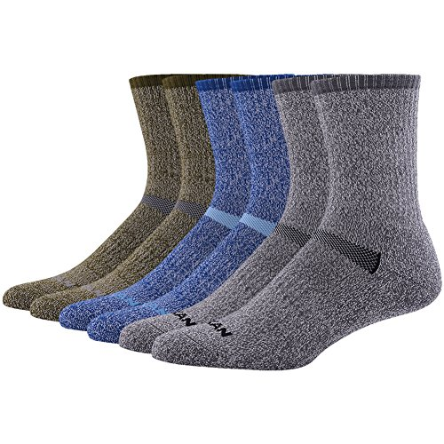 (MK MEIKAN Wool Socks Men Hiking, Premium Thermal Outdoor Trail Crew Mid Calf Cushion Wool Socks for Father's Day 6 Pairs, 2 Charcoal, 2 Navy Blue, 2 Army Green)