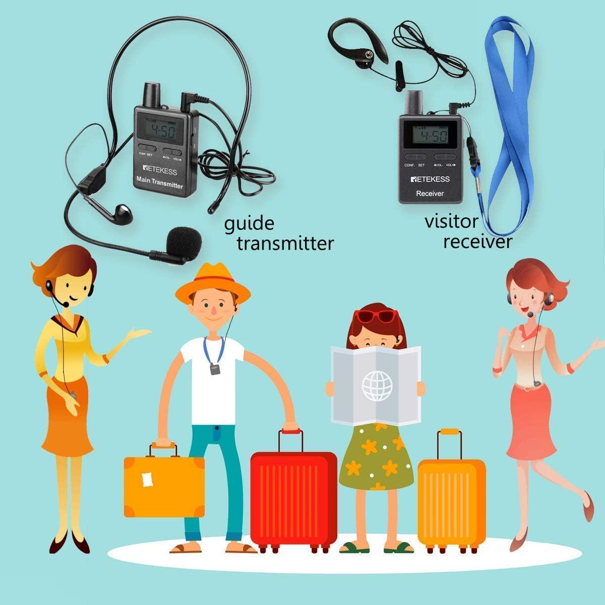 2 Pack Retekess TT105 Wireless Transmitter for Tour Guide System 1500mAh Battery 50 Channels for Traveling Museum Visit Conference