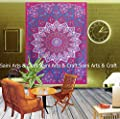 Indian tapestry Wall Hangings Hippie Bohemian Mandala Wall Art Collage dorm Beach Throw Bohemian Tapestry Wall decor Boho Bedspread Table Cloth Picnic blanket and Beach throw