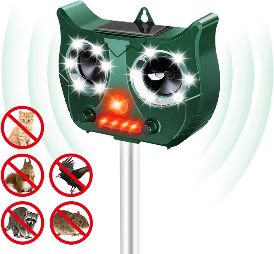 MOHOO Solar Cat Repellent, Ultrasonic Pest Repeller Waterproof Cat Repellent Ultrasonic with Two LED Speakers Cat Deterrents for Gardens