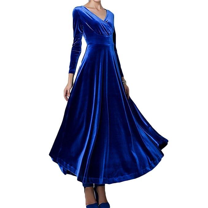 Juleya Vestidos Mujer Vestido Retro Vintage Vestidos de Terciopelo con Cuello V Vestido de Coctail Vestidos