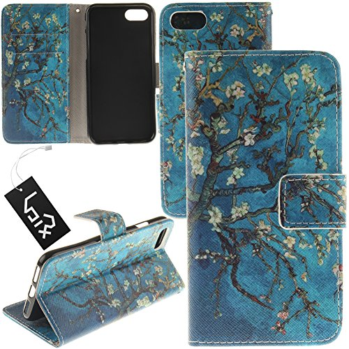For 4.7'' iPhone 7 / iPhone 8, Urvoix Blossom Tree Blue PU Leather Flip Wallet Case Cover - w/Picture on Card Holder, Magnetic Closure, Stand Feature for iPhone 7 / iPhone 8 (NOT fits 7Plus)