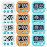 (US) 12 Pack Small Digital Kitchen Timer Magnetic Back And ON/OFF Switch,Minute Second Count Up Countdown(White,Blue,Orange)