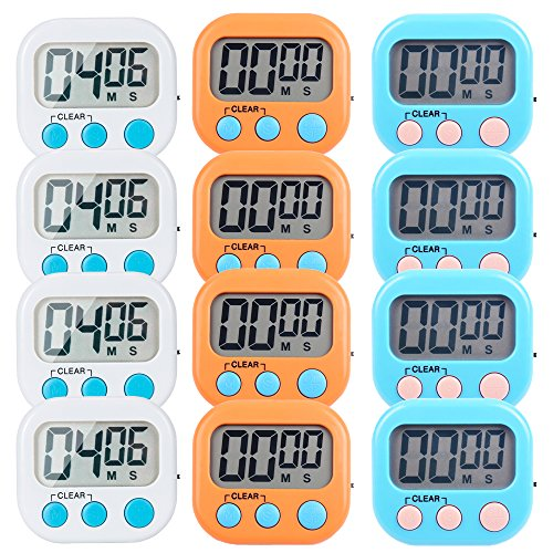 12 Pack Small Digital Kitchen Timer Magnetic Back And ON/OFF Switch,Minute Second Count Up -