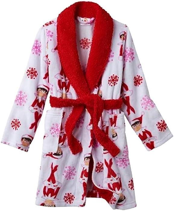 Girls Plush White   Red Elf on the Shelf Bathrobe Christmas Holiday Robe 4 4a0d7915b
