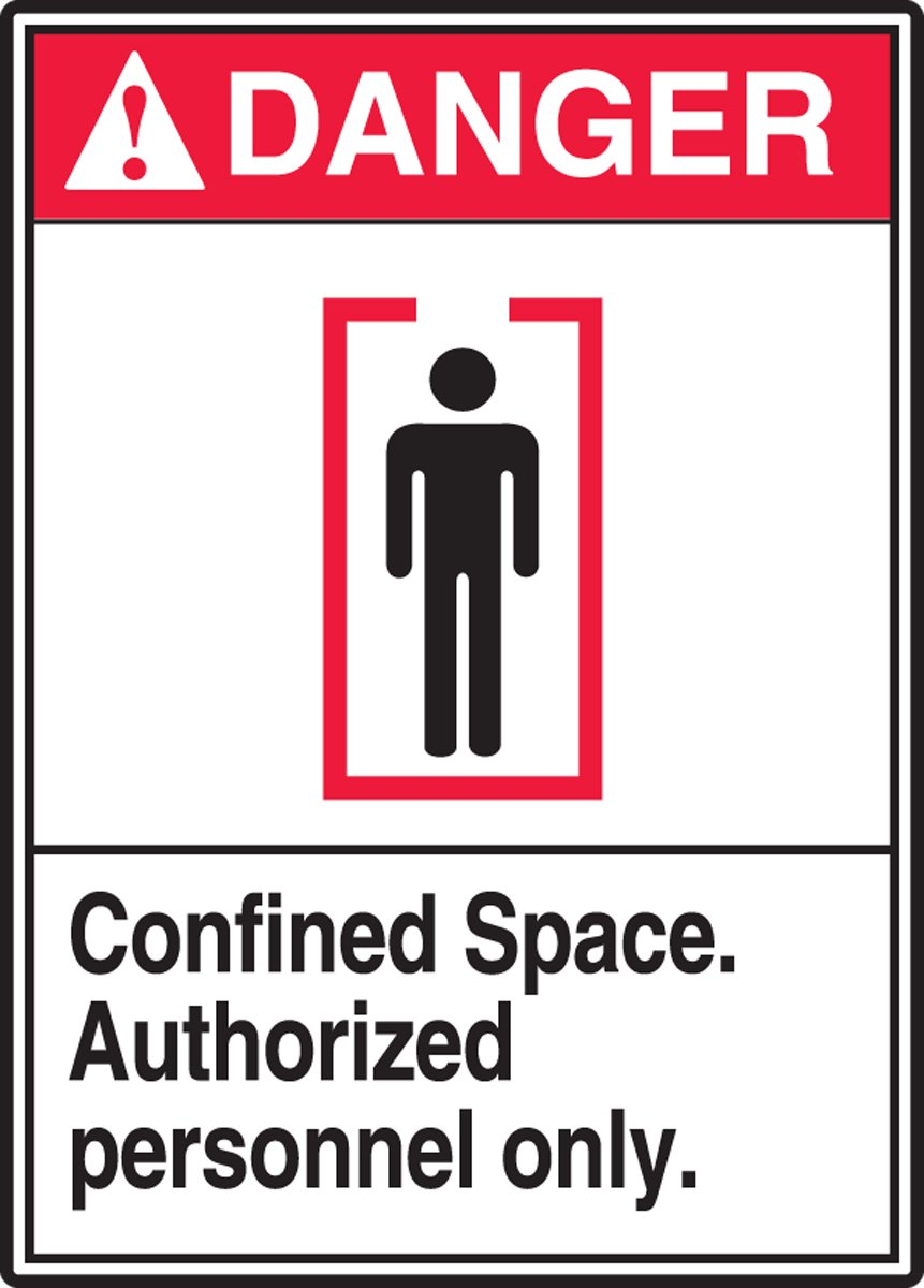 Red//Black on White 14 Height 10 Wide 0.006 Thickness Dura-Vinyl Accuform MRSP102XV Adhesive LegendDANGER CONFINED SPACE AUTHORIZED PERSONNEL ONLY Sign 14 Length