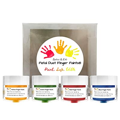 BAKELL Edible Finger Paint For Kids & Babies (4 Pack Set) | FDA Approved Edible Paint | 100% Edible Paint For Babies | Vegan, Gluten Free, Nut Free, Dairy Free, Non-GMO Edible Finger Paint: Grocery & Gourmet Food