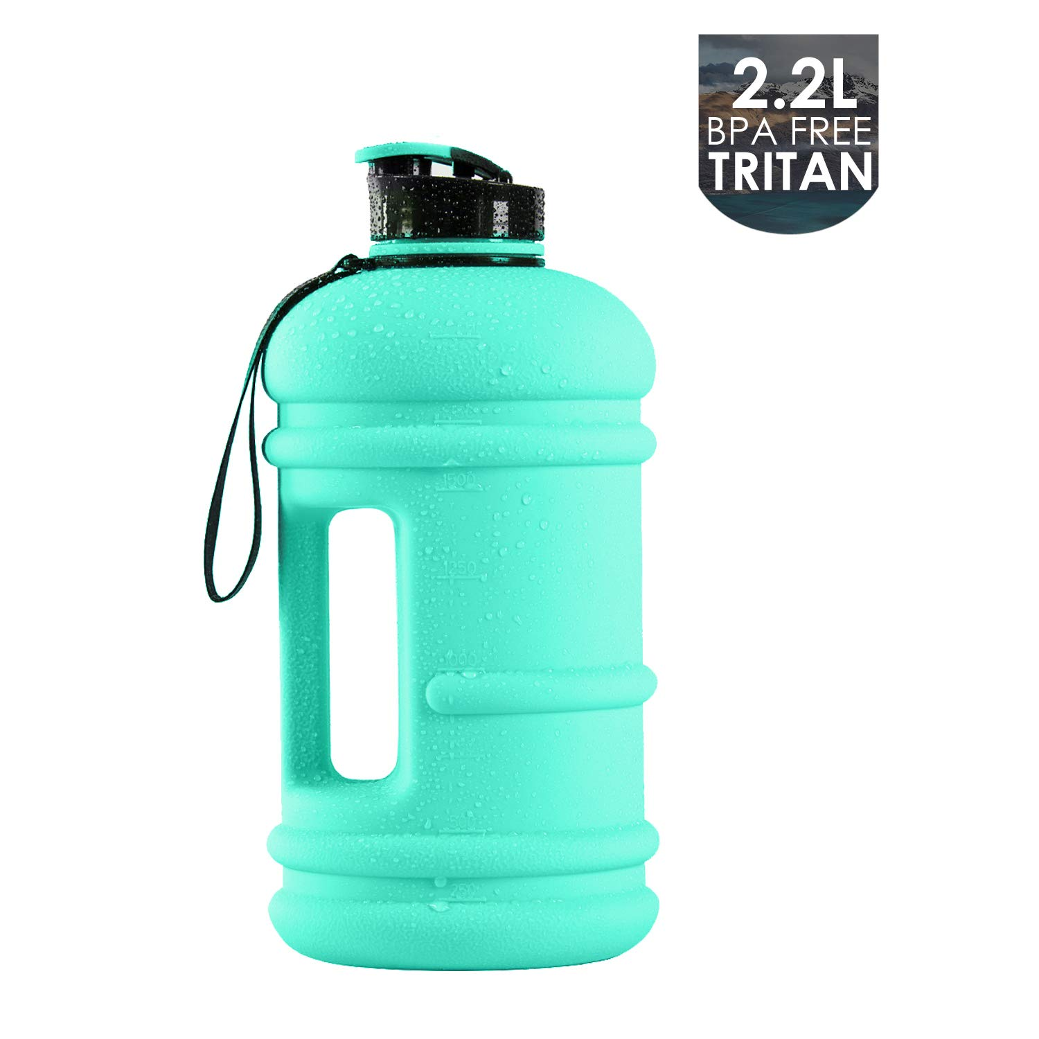 2.2l dishwashersafe frosted LIGHT GREEN 75oz Moonice Half Gallon Dishwasher Safe 2.2l Litre and 1.3l Big Capacity BPA Free Leakproof Plastic Gym Sports Water Bottle Large Drinking Water Jug Hydrate Container