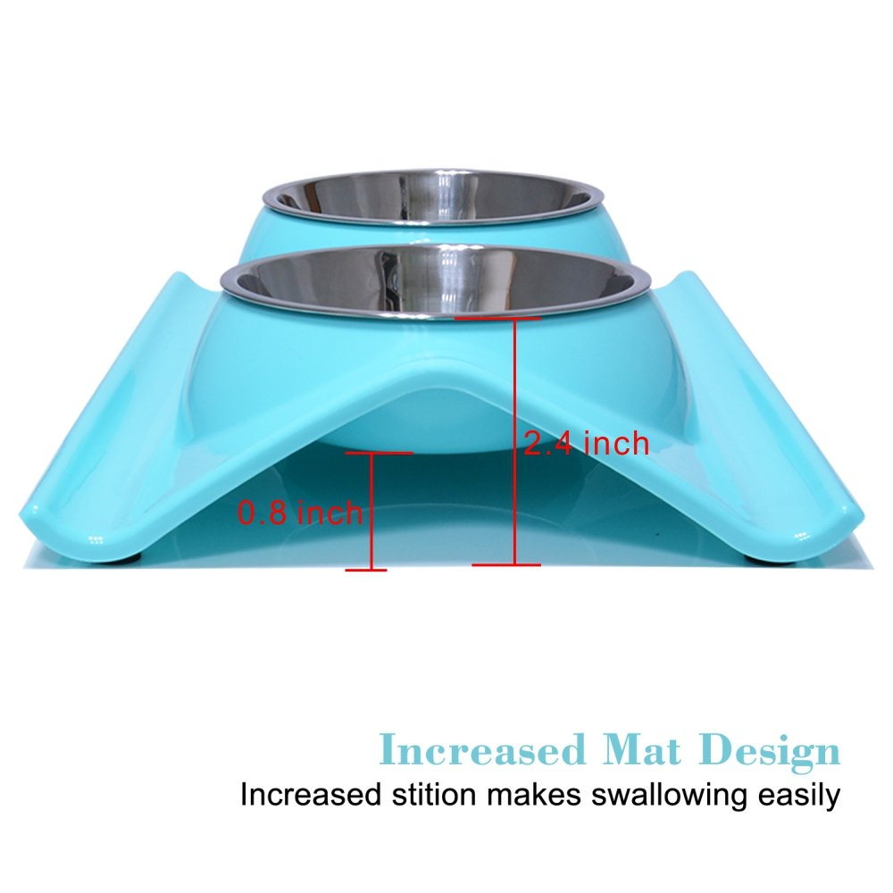 Double Dog Cat Puppy Bowls Stainless Steel Pet Bowls Pet Food Water Feeder with Non Spill Skid Resistant Base for Small Dogs and Cats (blue)