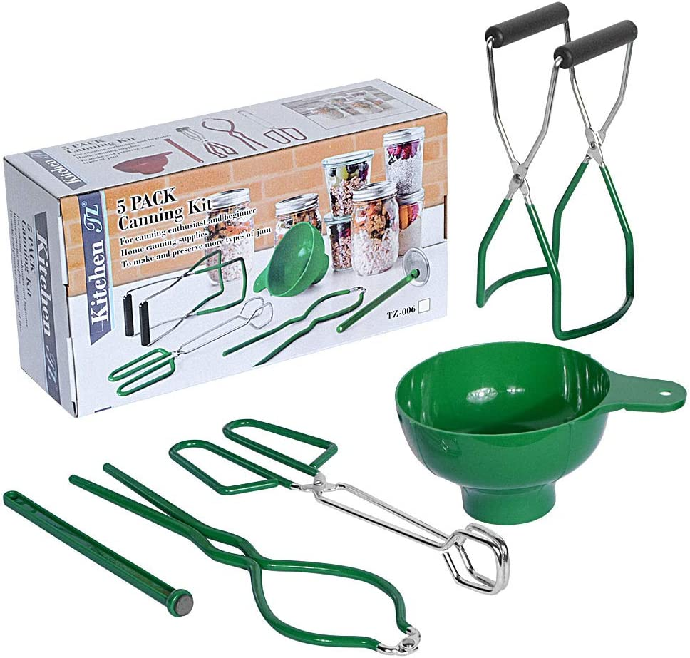 Canning Kit Home Canning Essentials 5-Piece Boxed Set Include Canning Funnel, Jar Lifter, Jar Wrench, Lid Lifter, Canning Tongs