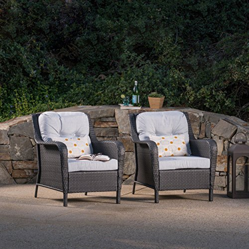 Chair Seating Deep Club - Christopher Knight Home Brighton Outdoor Grey Wicker Club Chairs with Mixed Grey Water Resistant Cushions (Set of 2)
