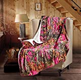 20 Lakes The Woods Hunter Camo Forest Sherpa Throw Blanket - (Bright Pink, 50'' x 70'' Throw)