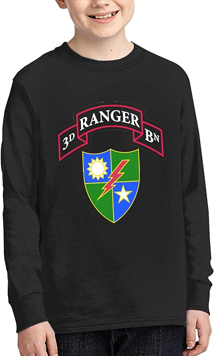 3rd Ranger Battalion Cotton Youth T Shirts Long Sleeve Boys Tee Tops Black