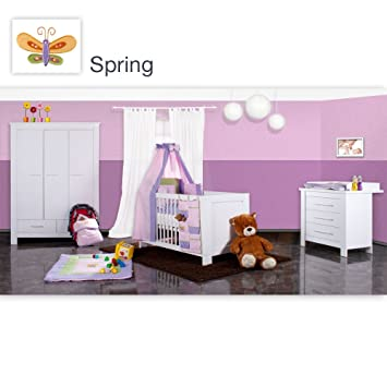 19-tlg. Luxus Babyzimmer Enni mit 3 türigem Schrank mit kleine ...
