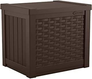product image for Suncast 22-Gallon Small Deck Box - Lightweight Resin Indoor/Outdoor Storage Container and Seat for Patio Cushions and Gardening Tools - Store Items on Patio, Garage, Yard - Java Brown