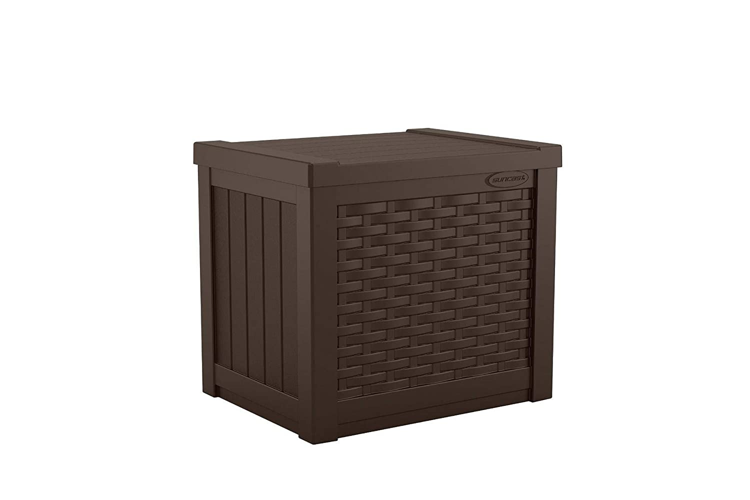 Suncast 22-Gallon Small Deck Box - Lightweight Resin Outdoor Storage Deck Box and Seat for Patio Cushions, Gardening Tools and Toys - Java Brown