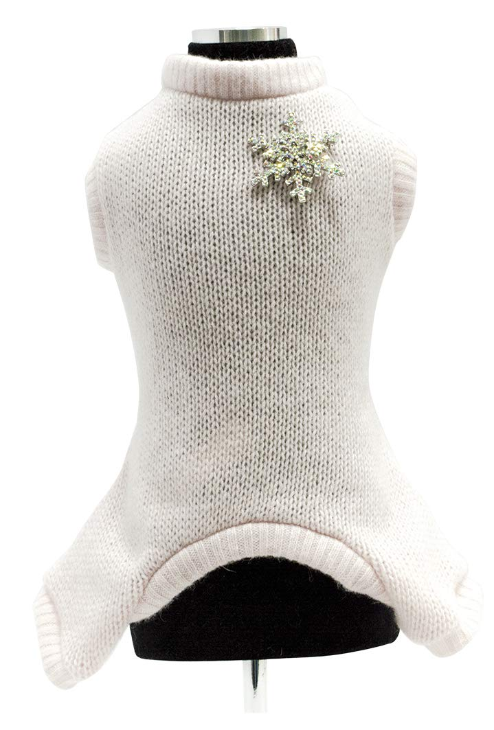 Trilly tutti Brilli Martin 38 Legged Woolen Bodysuit with Crystal Snowflake Brooch, Pink, 2X-Small