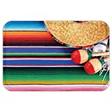 VROSELV Custom Door MatMexicanDecoration Collection Mexican Artwork with Sombrero Straw Hat MaracaSerape Blanket Rug Image Green Blue Red Ivory