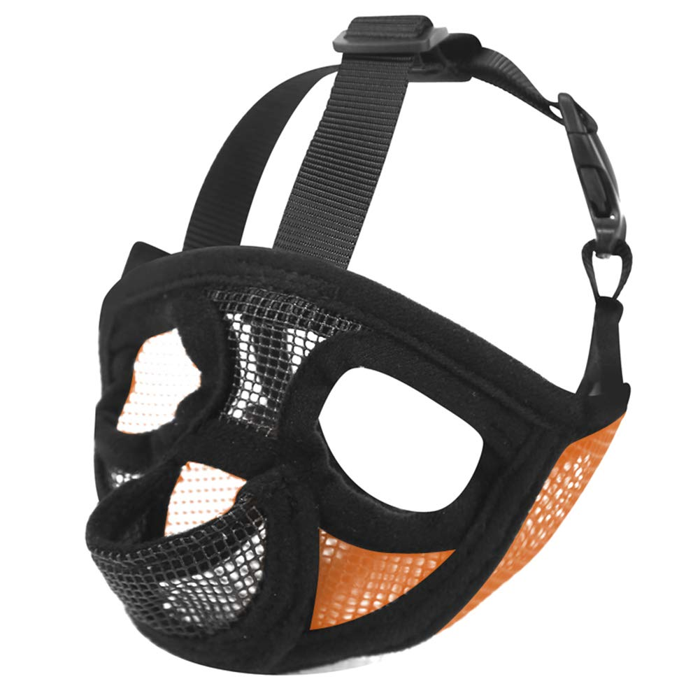 orange Small orange Small Dog Muzzles, Adjustable Breathable Safety Mesh Muzzle for Biting Chewing Barking Training Dog Mask for Small Medium Extra Dogs