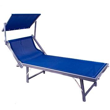Bequeme Sonnenliege Mit Klapp Dach | Saunaliege Strandliege Klappliege  Garten Liege Aus Alu Relaxliege