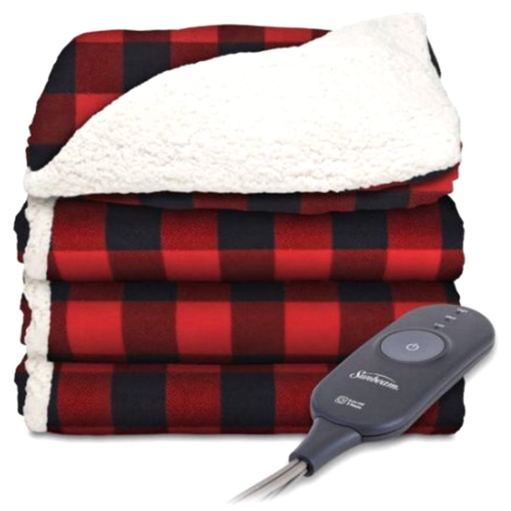 Premium Sherpa and Ultra Soft with 3 Heat Settings and 3 Hour Auto-off Reversible Imperial Plush with Sherpa Plaid Red and Black on White Sherpa Sunbeam Electric Throw 50 x 60
