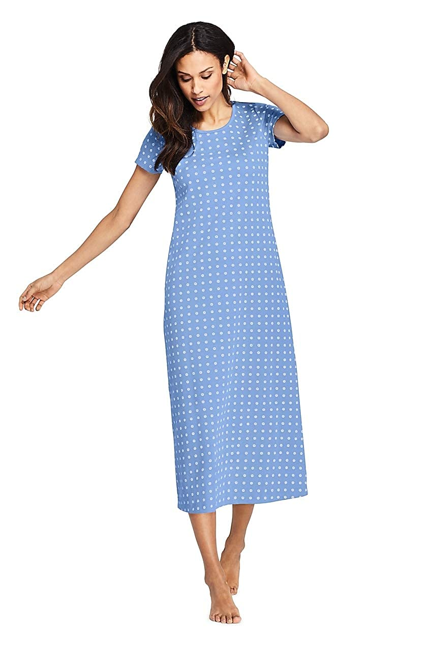 54cdfd03f Lands' End Women's Midcalf Supima Cotton Nightgown Print Short Sleeve at  Amazon Women's Clothing store: