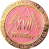 Recoverychip 17 Year AA Medallion Reflex Pink Gold Plated Chip