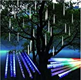 CYNDIE Hot Sale New Meteor Shower Falling Star Rain Drop Icicle Snow Fall LED Xmas Tree String Light Best Price Gift Blue 20cm
