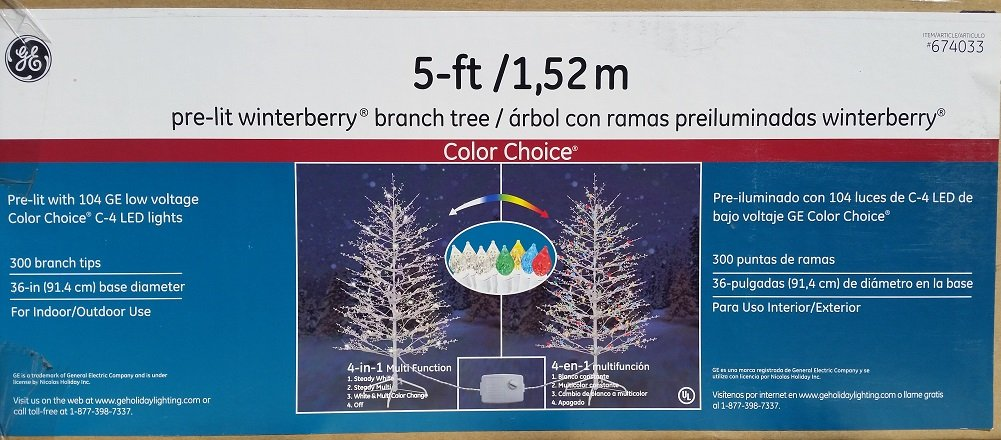 amazoncom ge 5 ft indooroutdoor winterberry pre lit artificial christmas tree with multicolor lights home kitchen