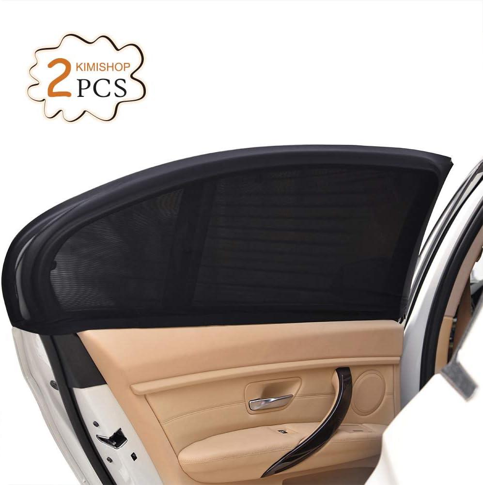 Uarter Parasol Coche,2Pcs Parasol de Coche Ventana Lateral para Máxima Protección contra Rayos UV y Proteja a Sus Niños y Mascotas (Negro)