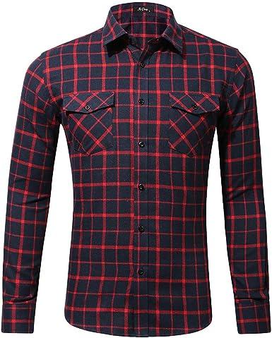 Sencillo Vida Camisa Hombre Cuadros Manga Larga Casual Slim Fit Plaid Shirts Camisas de Hombre de Vestir Delgada Camisa Hombres Clásico Cuello de Solapa con Botones Camiseta Básica: Amazon.es: Ropa y accesorios