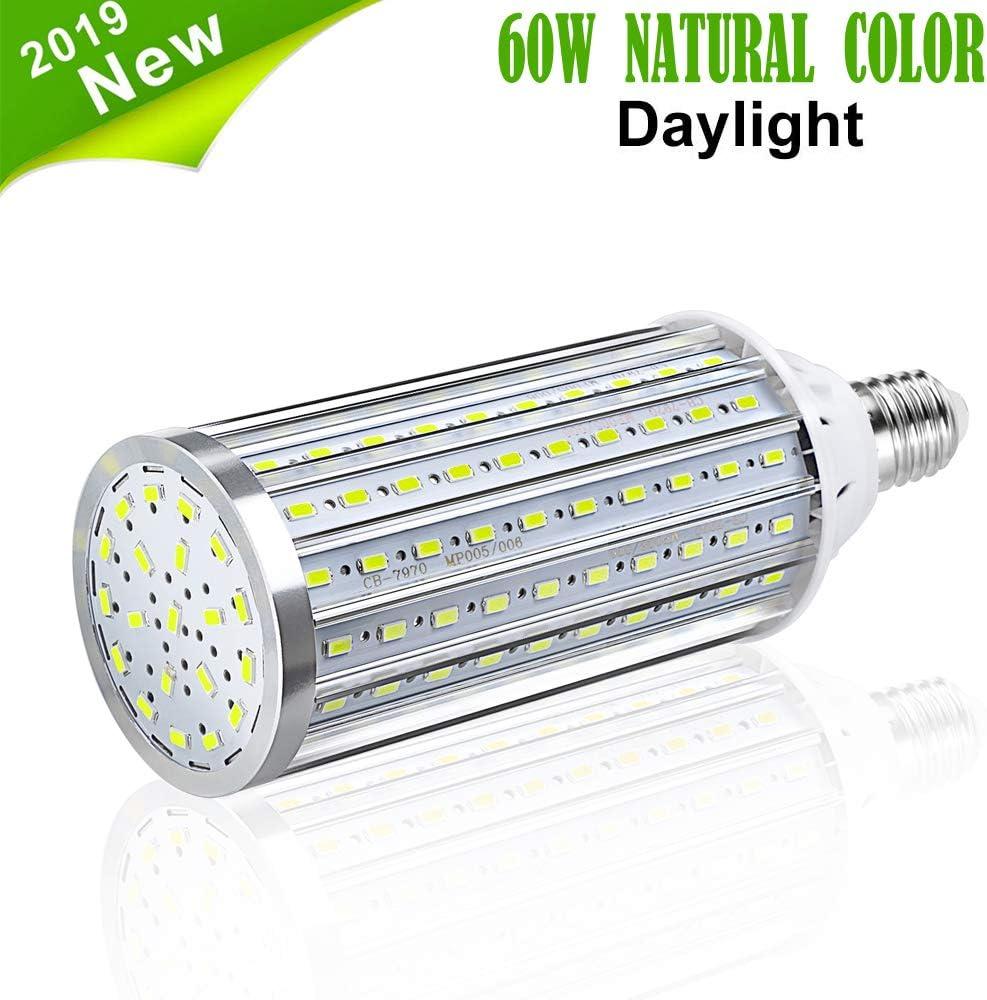 Bombilla de Luz LED Para Maíz, Vaxiuja E27 Bombilla LED Lámpara de Retroalimentación de Alta Potencia, Bombilla LED Reflector de 360 Grados Para garaje Entrada de Auto (Blanco natural, 60W)