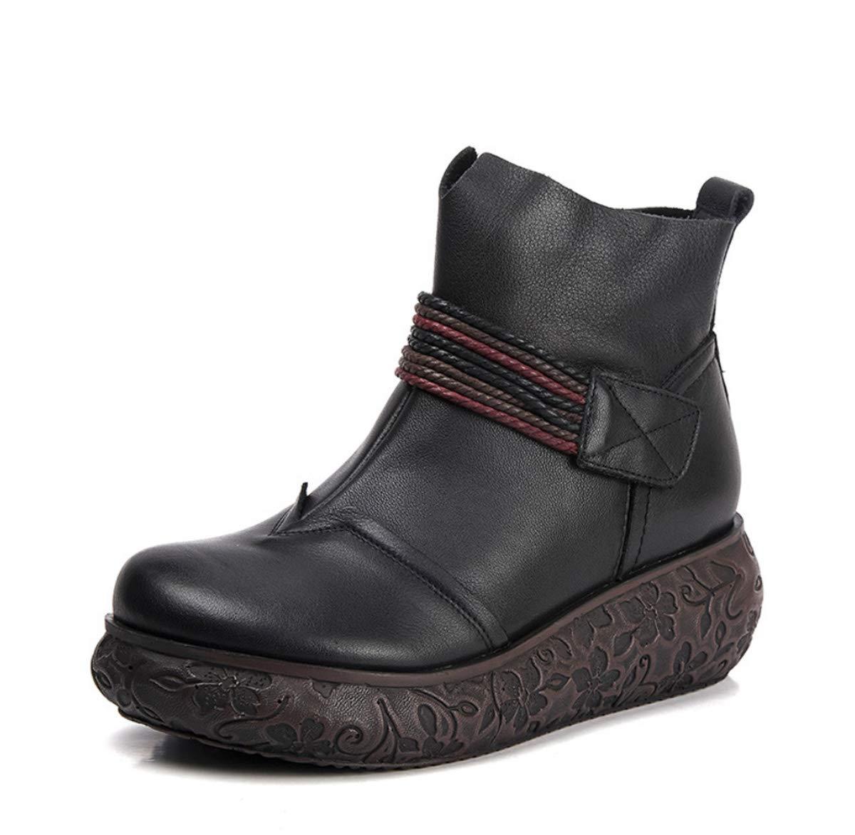 DANDANJIE Stiefel für Damen Vintage Comfort Schuhe mit Keilabsatz Damen National Style Stiefelies für 2018 Herbst Winter