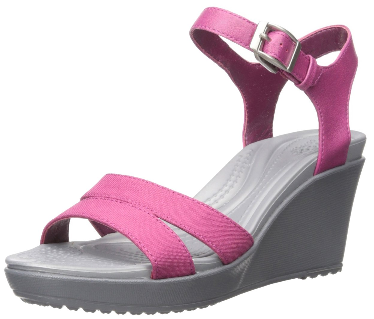 crocs Women's Leigh II Ankle Strap Wedge Sandal, Berry, 7 M US