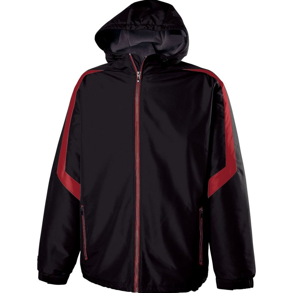 Holloway Youth Charger Jacket (Small, Black/Scarlet) by Holloway