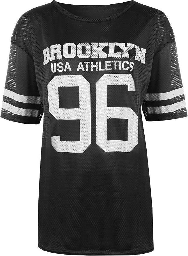 19ff3c93190a Love Celeb Look LCL-Femme 96 Brooklyn Nets T-Shirt Baggy Extra Large Femme  NUMÉRO 96 Brooklyn T-Shirt DE Baseball Taille 36-42  Amazon.fr  Vêtements  et ...