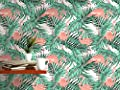 CostaCover - Temporary Self Adhesive Removable Wallpaper - Tropical Palm Tree Leaves Exotic Flamingo Birds - custom size available
