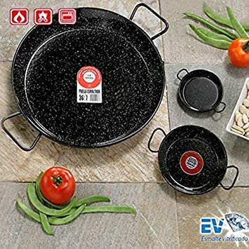 Paella Pfanne 40cm emailliert Paellapfanne Bratpfanne für Grill Gas Camping