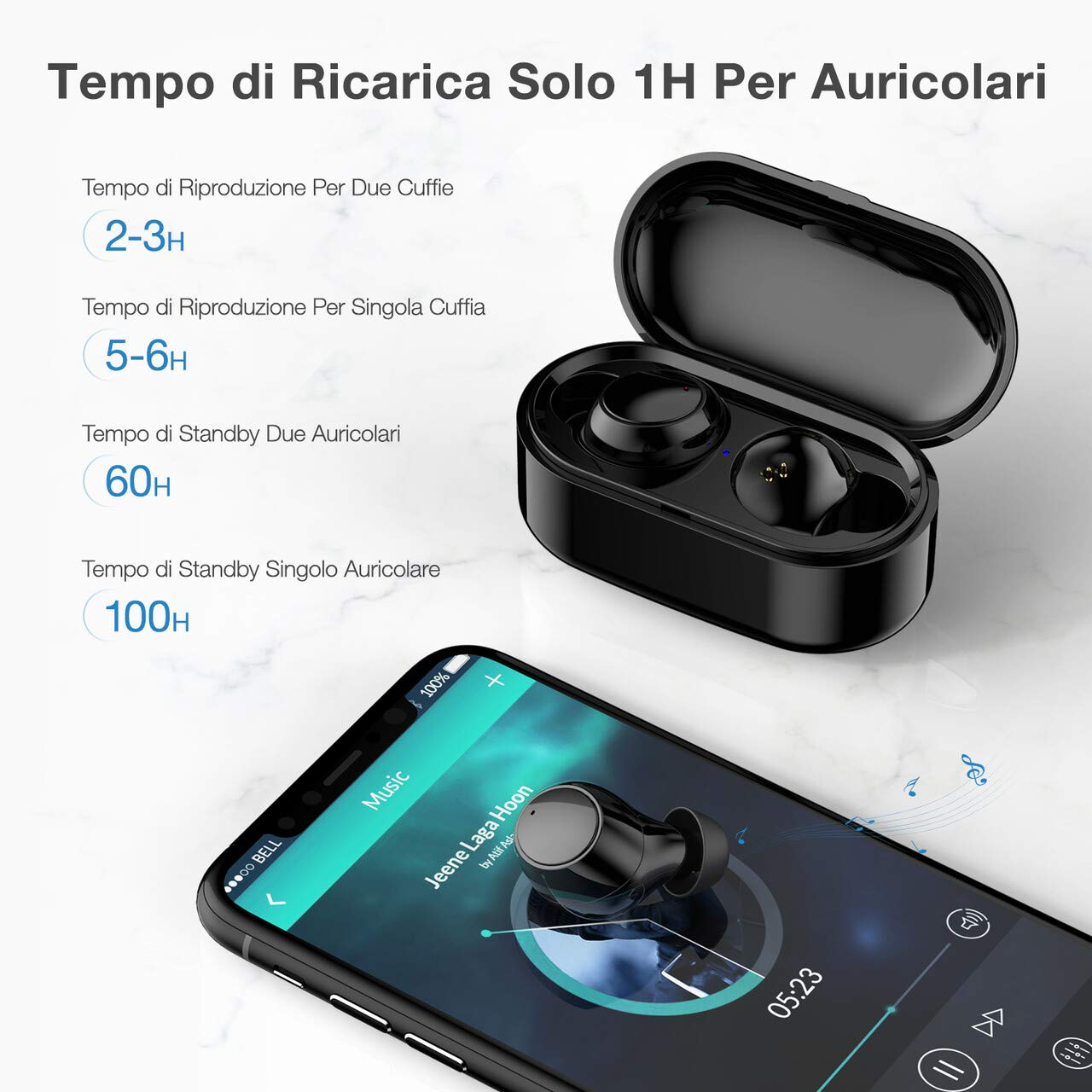 POWERADD Cuffie Bluetooth, Auricolari Bluetooth Senza Fili, Auricolari Wireless HD Stereo, Display della Batteria in Dispositivo, Compatto e Portatile, IPX5, Mic, Auricolari Sport per iOS ed Android