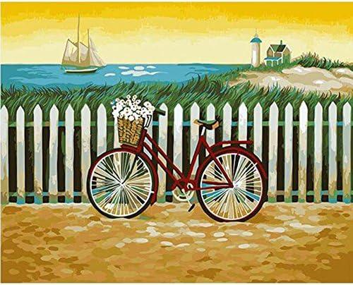 zhxx Pintar por Numeros Adultos Bicicleta Mar Paisaje Fotografía ...