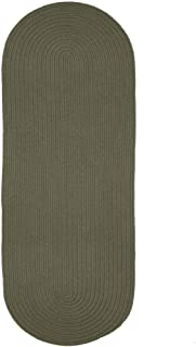 product image for Rhody Rug Woolux Wool Runner Braided Rug (2' x 6') - 2' x 6' Runner Sage