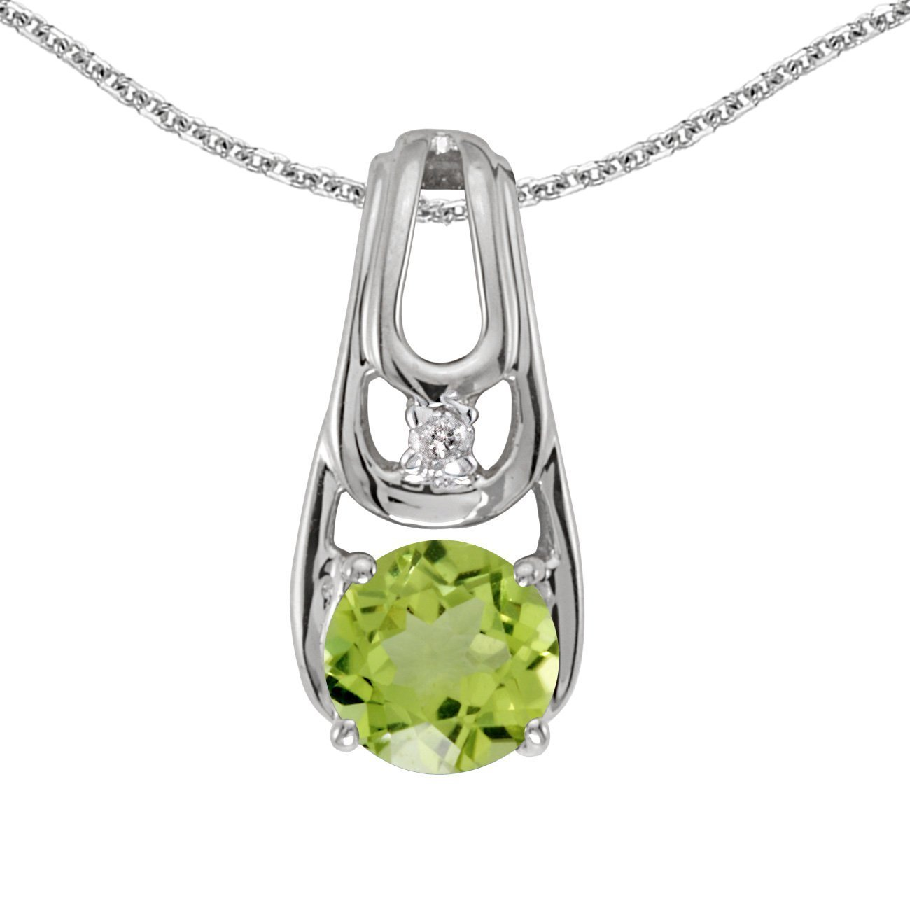 1//2 Cttw. FB Jewels Solid 14k White Gold Genuine Birthstone Round Gemstone And Diamond Pendant
